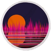 Abstract Moon Rise In Pink Round Beach Towel