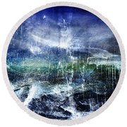 Abstract Moonlit Seascape Painting 36a Round Beach Towel