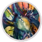 Round Beach Towel featuring the painting Abstract Nature by Allison Ashton