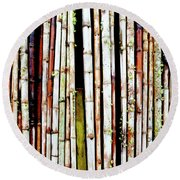 Abstract Nature Bamboo Shoots Photo 806 Round Beach Towel
