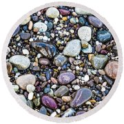 Abstract Nature Tropical Beach Pebbles 871a Blue Purple Pink And Orange 871a Round Beach Towel