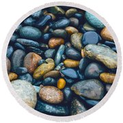 Abstract Nature Tropical Beach Pebbles 923 Blue Round Beach Towel