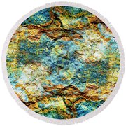 Abstract Nature Tropical Beach Rock Blue Yellow And Orange Macro Photo 472 Round Beach Towel