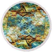 Abstract Nature Tropical Beach Rock Blue Yellow And Orange Macro Photo 472 Round Beach Towel