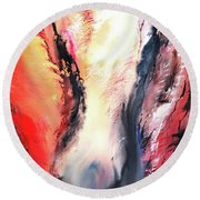 Round Beach Towel featuring the painting Abstract New by Anil Nene