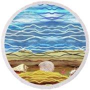 Abstract Ocean And Sea Shells Beach House Decor Round Beach Towel