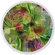 Round Beach Towel featuring the digital art Abstract Of Color by Deborah Benoit