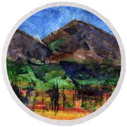 Abstract Of Sky Trees And Mountains Round Beach Towel by R Kyllo