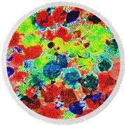 Abstract Oil  Photo Round Beach Towel by Tom Janca