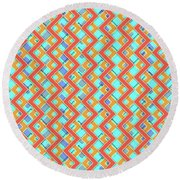 Abstract Orange, Cyan And Red Pattern For Home Decoration Round Beach Towel