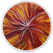 Abstract Orange Flower Round Beach Towel