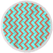 Abstract Orange, Yellow And Cyan Pattern For Home Decoration Round Beach Towel