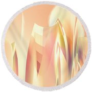Round Beach Towel featuring the digital art Abstract Orange Yellow by Robert G Kernodle