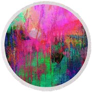 Abstract Painting 621 Pink Green Orange Blue Round Beach Towel