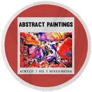 Abstract Painting Collection Round Beach Towel by Modern Art Prints
