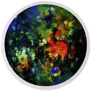 Round Beach Towel featuring the painting Abstract Painting In Dark Blue Tones by Ayse Deniz