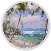 Abstract Palm Beach Path Round Beach Towel by Anthony Fishburne