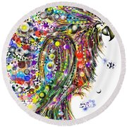 Abstract Parrot Round Beach Towel