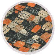 Abstract Pattern Black And Orange Round Beach Towel