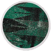 Abstract Pattern No.11 Green And Black Round Beach Towel