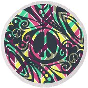 Abstract Peace Sign Round Beach Towel