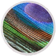 Abstract Peacock Feather Round Beach Towel
