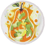Round Beach Towel featuring the painting Abstract Pear by Kathleen Sartoris