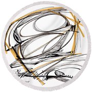Abstract Pen Drawing Four Round Beach Towel by Lynne Taetzsch