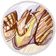 Abstract Pen Drawing Nine Round Beach Towel