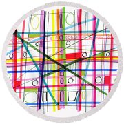 Abstract Pen Drawing One Round Beach Towel by Lynne Taetzsch