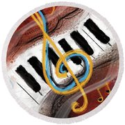 Abstract Piano Concert Round Beach Towel