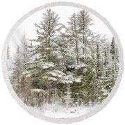 Evergreen Winter Round Beach Towel
