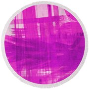 Abstract Pink And Purple Round Beach Towel by Tom Janca