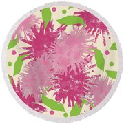 Abstract Pink Puffs Round Beach Towel