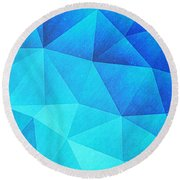 Abstract Polygon Multi Color Cubizm Painting In Ice Blue Round Beach Towel