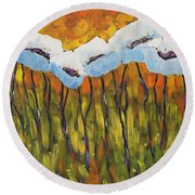 Abstract Poppies Round Beach Towel