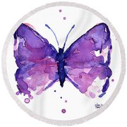 Abstract Purple Butterfly Watercolor Round Beach Towel