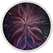 Abstract Purple Flower Round Beach Towel