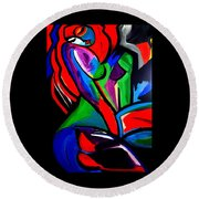 Abstract  Rain Bow Girl Round Beach Towel by Nora Shepley
