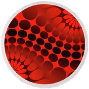 Abstract Red And Black Ornament Round Beach Towel
