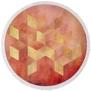 Abstract Red And Gold Geometric Cubes Round Beach Towel