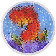 Round Beach Towel featuring the painting Abstract Red Flowers - Pieces 5 - Sharon Cummings by Sharon Cummings