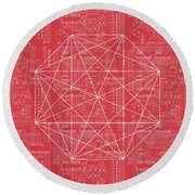 Abstract Red Octagon Line Art Round Beach Towel