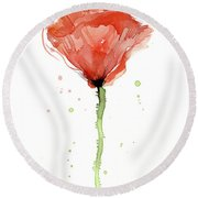 Abstract Red Poppy Watercolor Round Beach Towel
