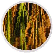 Abstract Reeds Triptych Middle Round Beach Towel