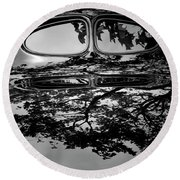 Abstract Reflection Bw Sq II - Vehicle Round Beach Towel