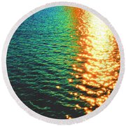 Abstract Reflections Digital Painting #5 - Delaware River Series Round Beach Towel