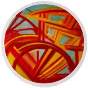 Abstract Riverboat Round Beach Towel