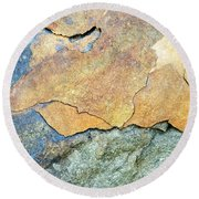 Round Beach Towel featuring the photograph Abstract Rock by Christina Rollo