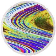 Abstract Saguaro Contour Round Beach Towel by Tom Janca